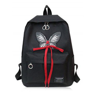 Butterfly Pattern Tie Up School Backpack