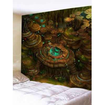 Wall Hanging Decor Mushroom Forest Print Tapestry