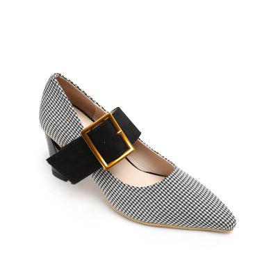 Chunky Heel Pointed Toe Plaid Buckled Pumps