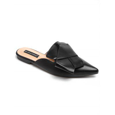 PU Leather Asymmetric Pointed Toe Mules Shoes