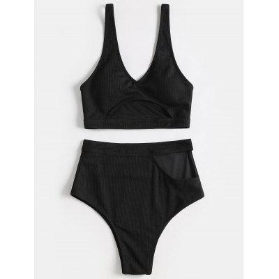 High Waisted Cut Out Bathing Suit