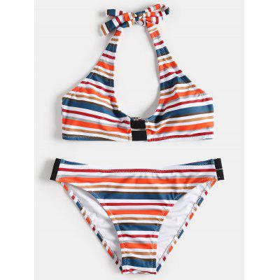 Halter Padded Striped Bathing Suit