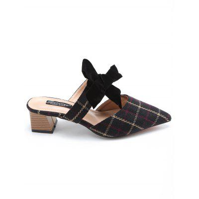 Block Heel Pointed Toe Plaid Mules Shoes