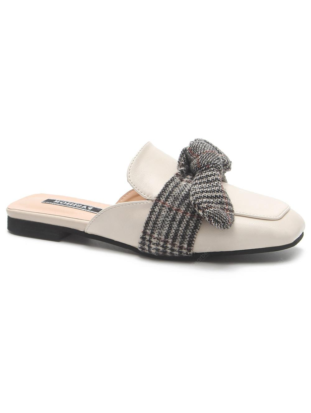 2015 new cheap price really cheap PU Leather Square Toe Bowknot Mules Shoes clearance best clearance online ebay cheap sale real 2bKmG4i
