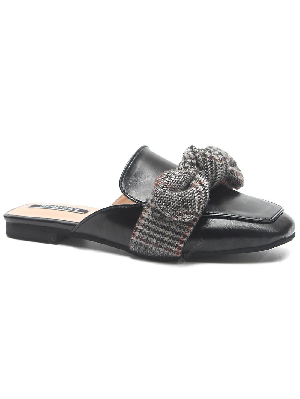 PU Leather Square Toe Bowknot Mules Shoes
