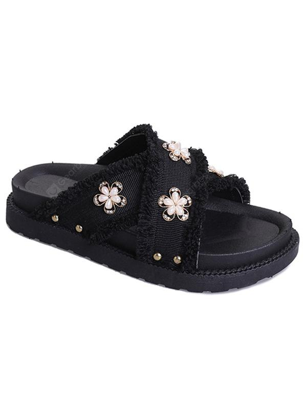 Floral Decoration Cross Outdoor Slipper Shoes