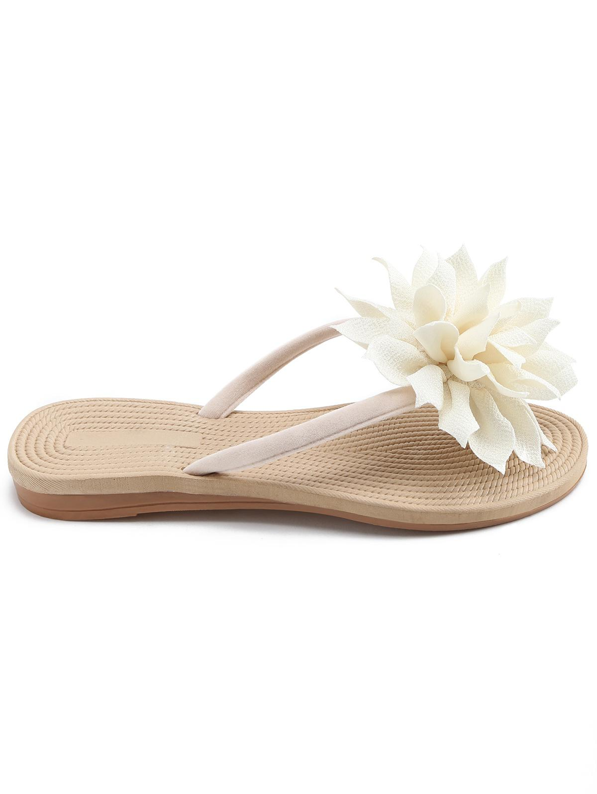 Floral Decorated Flat Heel Flip Flops