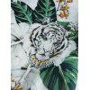 Short Sleeve Floral Lion Printed T-shirt - MULTI