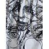 Allover Face Line Drawing Print Beach Shorts - WHITE