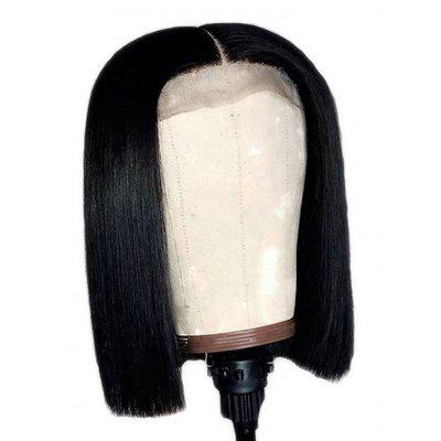 Center Parting Short Straight Bob Lace Front Synthetic Wig