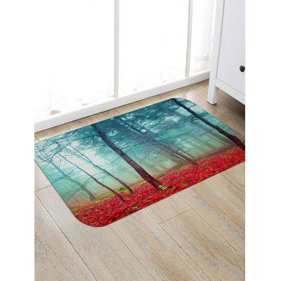 Red Forest Print Floor Rug