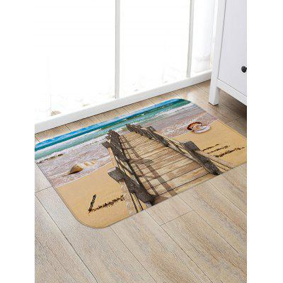 Beach Sea Bridge Print Floor Area Rug