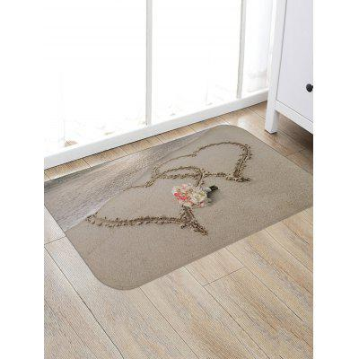 Beach Double Hearts Flowers Print Floor Rug