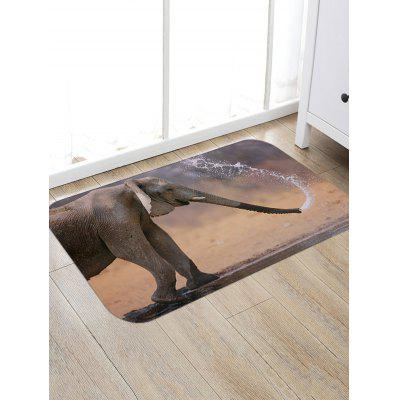 Elephant Playing Water Print Floor Rug