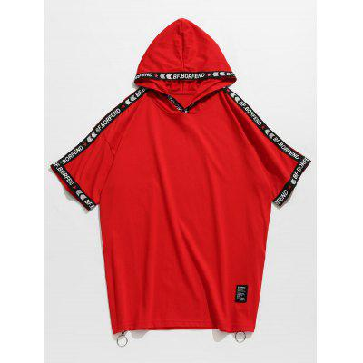 Hooded Side Zippers Letter Print Tee