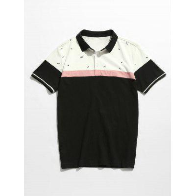Color Block Printed Polo Tee