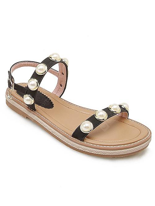 PU Leather Faux Pearl Two Strap Sandals