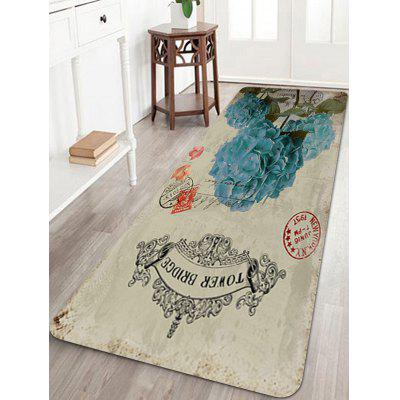 Vintage Blue Flower Stamp Print Floor Rug