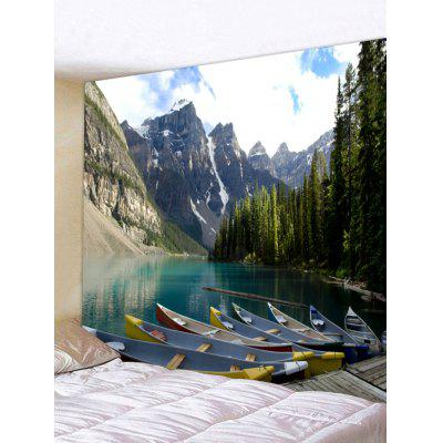 Forest Lake Boat Pattern Wall Art Tapestry