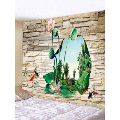 3D Lotus Stone Wall Print Wall Hanging Tapestry