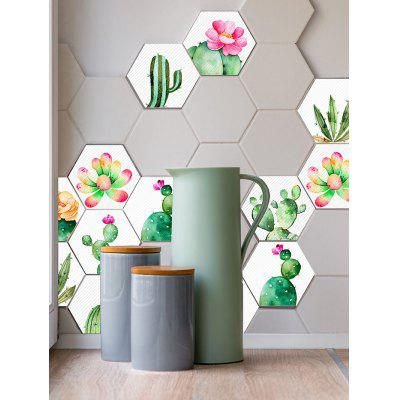 10 Pcs Plants Flowers Cactus Hexagon Wall Stickers
