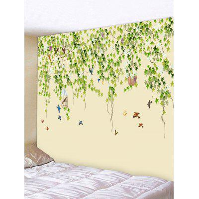 Birds Leafy Print Tapestry Wall Hanging Art