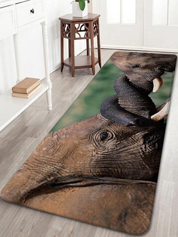Two Elephants Resting Time Playing Print Floor Rug