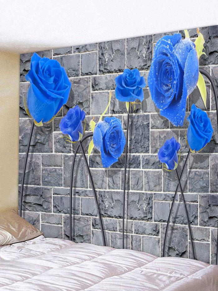 Rock Stone Wall Rose Print Wall Hanging Tapestry