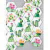 10 Pcs Plants Flowers Cactus Hexagon Wall Stickers - GREEN