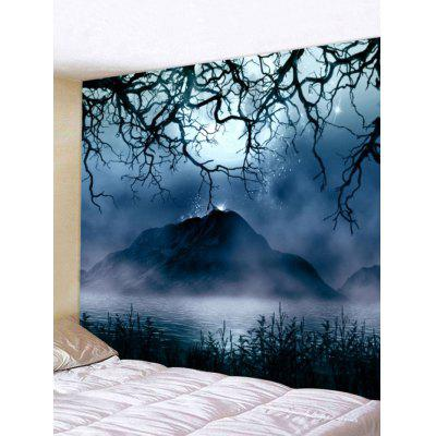 Mountain Star Night View Pattern Tapestry