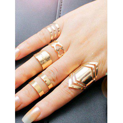 Simple Metal Feather Heart Cuff Ring Set