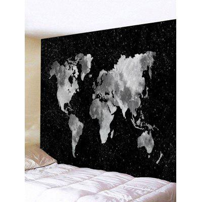 Black Starry Sky World Map Print Tapestry
