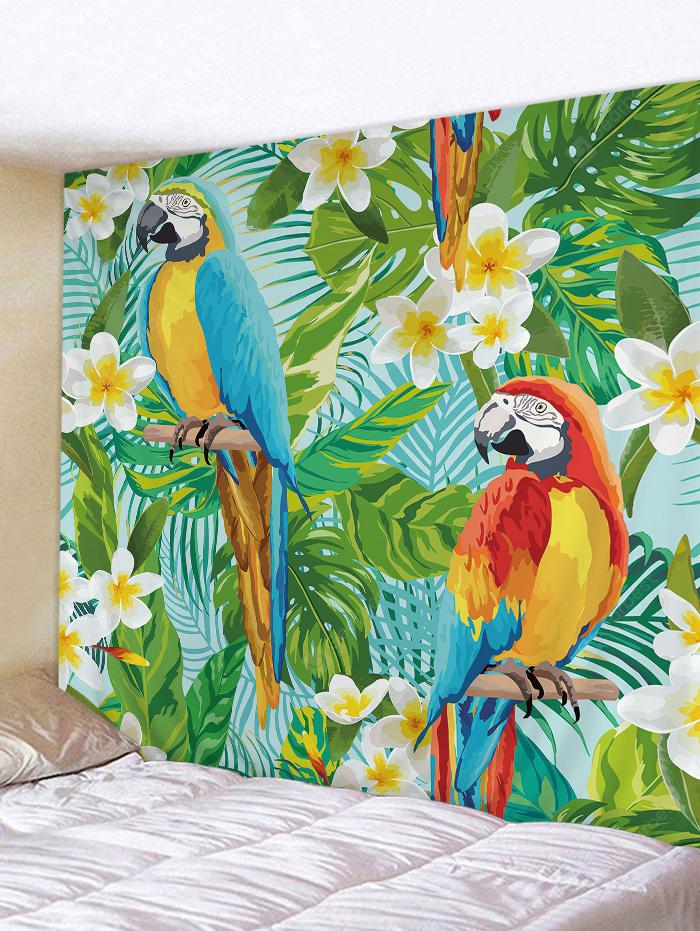 Forest Flowers Parrots Pattern Wall Decor Tapestry