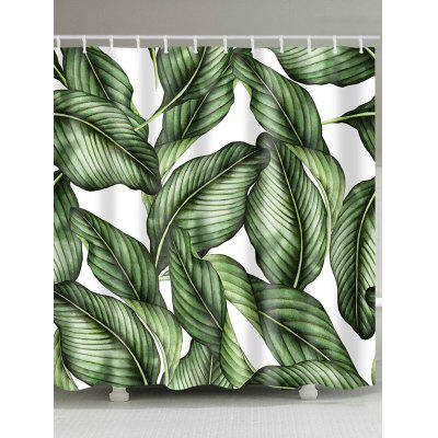 Green Leaves Print Shower Curtain