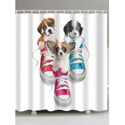 Three Little Dogs and Shoes Print Shower Curtain