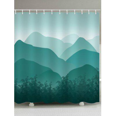 Mountains Ink and Wash Print Shower Bathroom Curtain