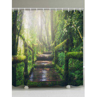 Wooden Bridge in Forest Print Shower Bath Curtain