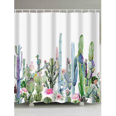 Watercolor Painting Cactus Print Shower Curtain