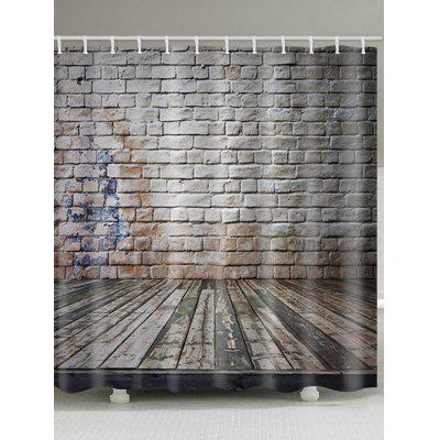 Wood Floor and Brick Wall Print Shower Curtain