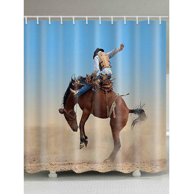 Western Cowboy Riding Horse Print Shower Curtain