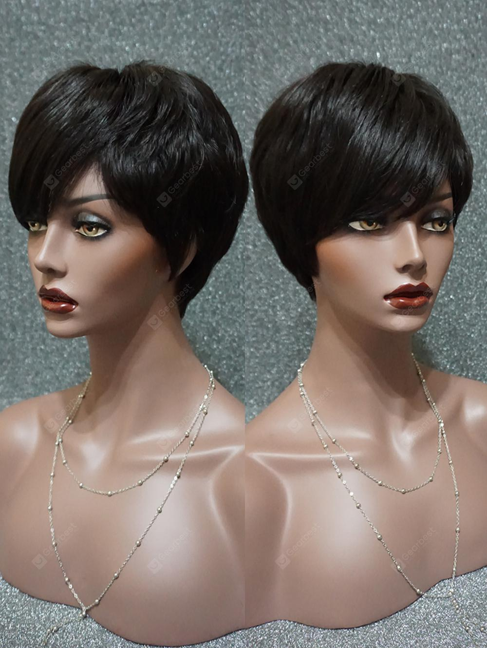 Short Straight Real Hair Wig with Inclined Fringe