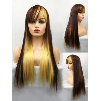 Long Inclined Bang Straight Colormix Cosplay Party Synthetic Wig