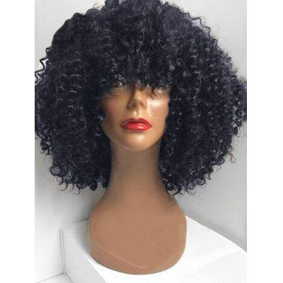 Medium Full Bang Fluffy Afro Kinky Curly Human Hair Wig