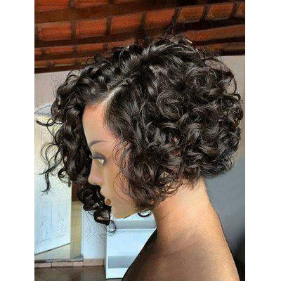 Short Side Bang Curly Wave Lace Front Human Hair Wig