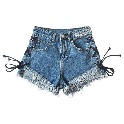 Lace Up Frilled Hem Denim Shorts