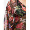 Flower Open Front High Low Cover Up - MEDIUM VIOLET RED