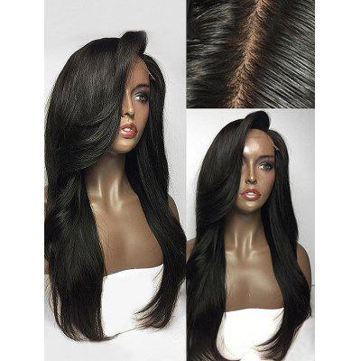 Long Side Parting Straight Lace Front Human Hair Wig