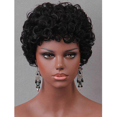 Short Side Bang Kinky Curly Human Hair Wig
