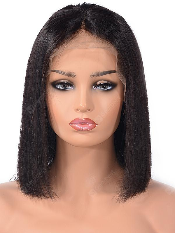 Center Parting Straight Bob Lace Front Human Hair Wig