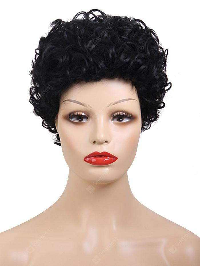 Oblique Bang Short Curly Capless Human Hair Wig